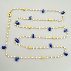 925 silver 40.25cts natural blue kyanite 14k gold 36inch chain necklace r3790