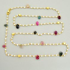 35.07cts natural tourmaline pearl 925 silver gold 35inch chain necklace r3793