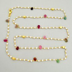 32.23cts natural tourmaline pearl silver 14k gold 35inch chain necklace r3794