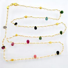 37.32cts natural tourmaline pearl 925 silver gold 35inch chain necklace r3819