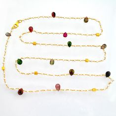 925 silver 39.50cts natural tourmaline pearl gold 35inch chain necklace r3820