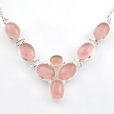 41.59cts natural pink rose quartz 925 sterling silver necklace jewelry r4967