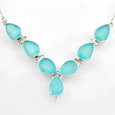 37.01cts natural aqua chalcedony 925 sterling silver necklace jewelry r4969
