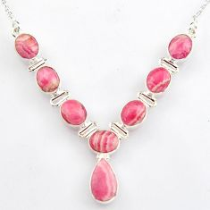 31.46cts natural pink rhodochrosite inca rose (argentina) silver necklace r4973