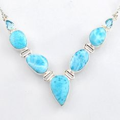 925 sterling silver 35.89cts natural blue larimar topaz necklace jewelry r4974