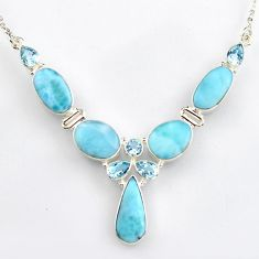 925 sterling silver 33.64cts natural blue larimar topaz necklace jewelry r4977
