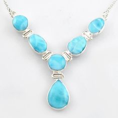 36.59cts natural blue larimar pear 925 sterling silver necklace jewelry r4978