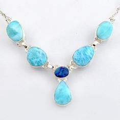 31.84cts natural blue larimar doublet opal australian 925 silver necklace r4979