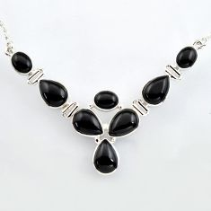 32.86cts natural black onyx 925 sterling silver necklace jewelry r4982