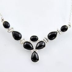 925 sterling silver 34.21cts natural black onyx pear necklace jewelry r4983
