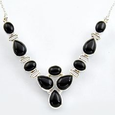 38.31cts natural black onyx 925 sterling silver necklace jewelry r4984