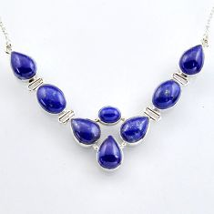 52.15cts natural blue lapis lazuli 925 sterling silver necklace jewelry r4985