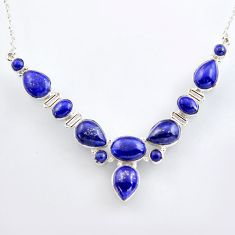 925 sterling silver 51.70cts natural blue lapis lazuli necklace jewelry r4986