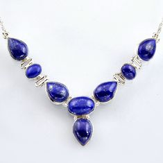 47.62cts natural blue lapis lazuli 925 sterling silver necklace jewelry r4987