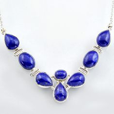 43.58cts natural blue lapis lazuli 925 sterling silver necklace jewelry r4988