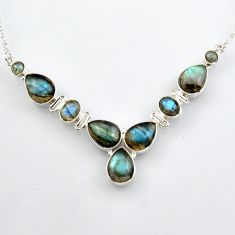 33.64cts natural blue labradorite 925 sterling silver necklace jewelry r4992