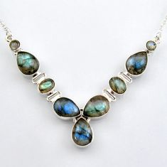 925 sterling silver 31.40cts natural blue labradorite necklace jewelry r4993
