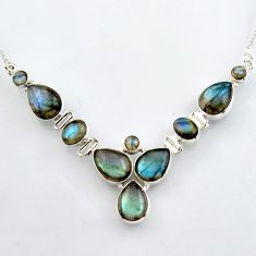 33.12cts natural blue labradorite 925 sterling silver necklace jewelry r4995