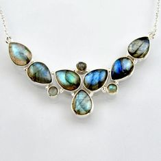 43.23cts natural blue labradorite 925 sterling silver necklace jewelry r4996