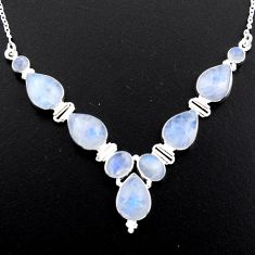 925 sterling silver 34.00cts natural rainbow moonstone necklace jewelry r4997