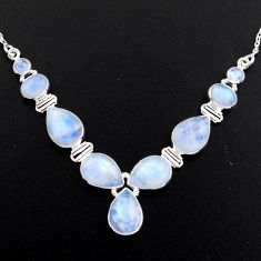 30.41cts natural rainbow moonstone 925 sterling silver necklace jewelry r4998