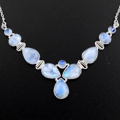 38.72cts natural rainbow moonstone 925 sterling silver necklace jewelry r4999