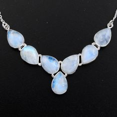 925 sterling silver 45.65cts natural rainbow moonstone necklace jewelry r5000