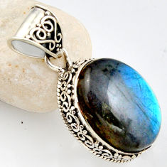 15.28cts natural blue labradorite 925 sterling silver pendant jewelry r1192
