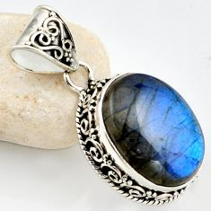 16.25cts natural blue labradorite 925 sterling silver pendant jewelry r1193