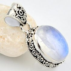 14.11cts natural rainbow moonstone 925 sterling silver pendant jewelry r1223