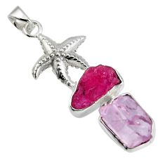 11.25cts natural pink kunzite rough ruby rough silver star fish pendant r1672