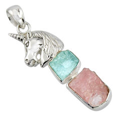 12.03cts natural pink morganite rough fancy 925 silver horse pendant r1690