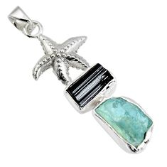 925 silver 12.07cts natural aqua aquamarine rough fancy star fish pendant r1694