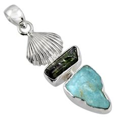 10.02cts natural aqua aquamarine rough tourmaline rough 925 silver pendant r1695