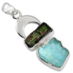 11.23cts natural aqua aquamarine rough tourmaline rough 925 silver pendant r1696