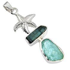 925 silver 13.28cts natural aqua aquamarine rough star fish pendant r1697