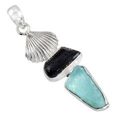 10.78cts natural aqua aquamarine rough tourmaline rough 925 silver pendant r1698