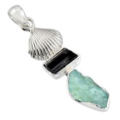 10.31cts natural aqua aquamarine rough tourmaline rough 925 silver pendant r1699