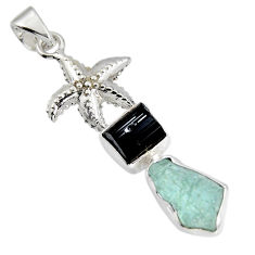 925 silver 13.69cts natural aqua aquamarine rough fancy star fish pendant r1700