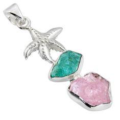 13.28cts natural pink morganite rough 925 silver star fish pendant r1706