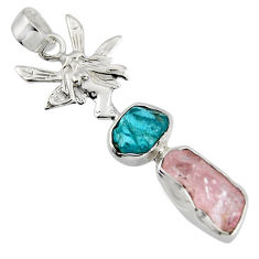 925 silver 10.31cts natural pink morganite rough angel wings fairy pendant r1711