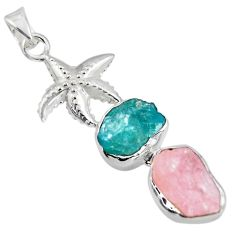 10.64cts natural pink morganite rough 925 silver star fish pendant jewelry r1712