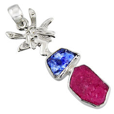 10.78cts natural pink ruby rough 925 silver angel wings fairy pendant r1721