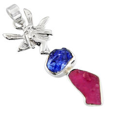 10.29cts natural pink ruby rough 925 silver angel wings fairy pendant r1723