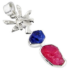 11.66cts natural pink ruby rough 925 silver angel wings fairy pendant r1726