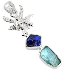 8.80cts natural aqua aquamarine rough 925 silver angel wings fairy pendant r1734