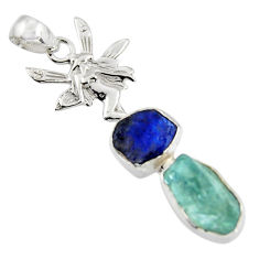 8.77cts natural aqua aquamarine rough 925 silver angel wings fairy pendant r1736