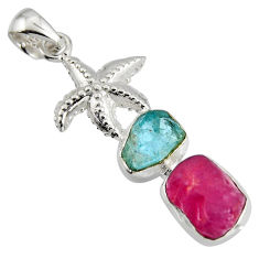 10.70cts natural ruby rough aquamarine rough 925 silver star fish pendant r1741