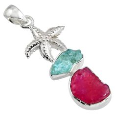 10.70cts natural ruby rough aquamarine rough 925 silver star fish pendant r1742