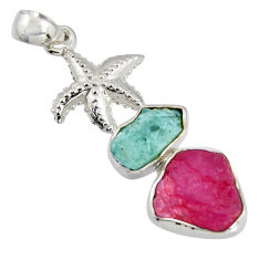 925 silver 13.07cts natural ruby rough aquamarine rough star fish pendant r1743